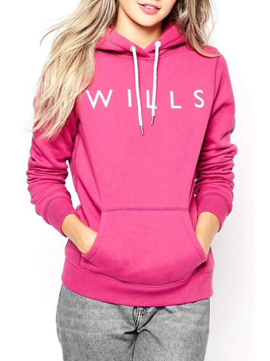 women Letter Print Rose Red Pullover Hoodie - ROSE XS