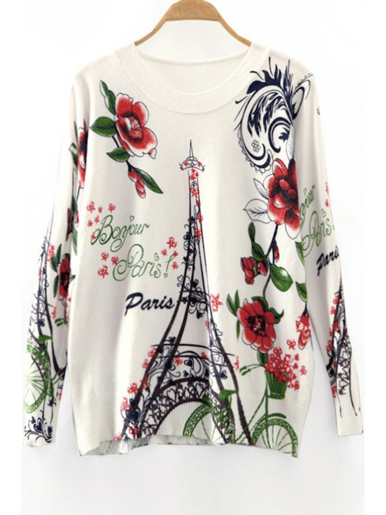 latest Tower and Letter Print Round Collar Long Sleeves Sweater - WHITE ONE SIZE(FIT SIZE XS TO M)