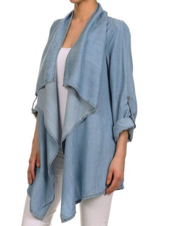 shop Light Blue Denim Waterfall Coat - BLUE S