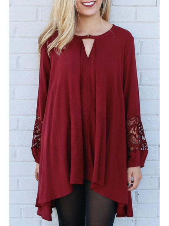 trendy V-Neck Lace Spliced Wine Red Dress - WINE RED S