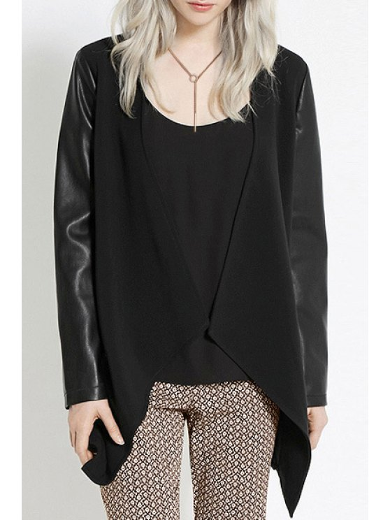 latest PU Leather Spliced Long Sleeves Blazer - BLACK XS