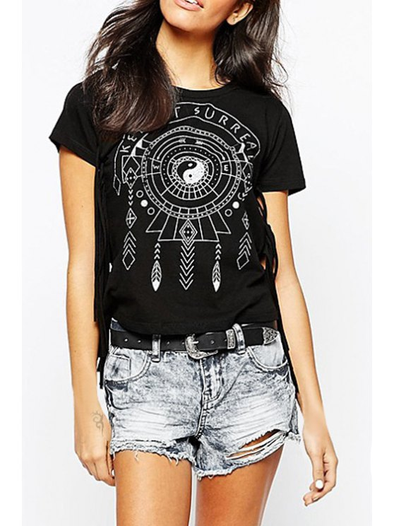 women Totem Print Round Neck Short Sleeve T-Shirt - BLACK XS