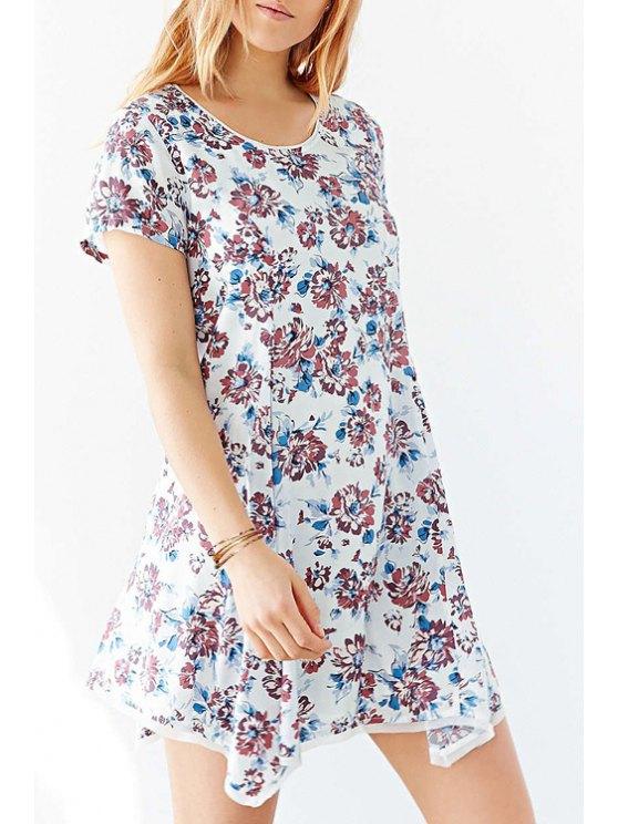 best Full Floral Scoop Neck Short Sleeve Dress - LIGHT BLUE XS