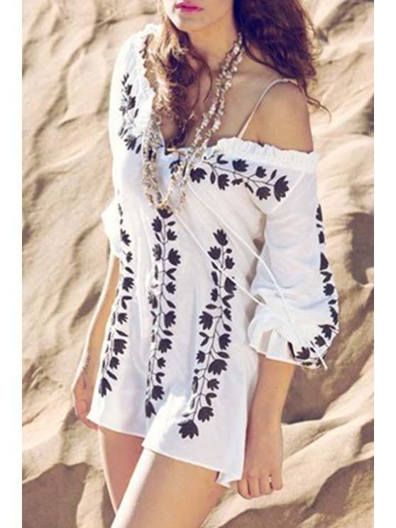 sale Printed Loose Fitting Beach Cover Up - WHITE ONE SIZE(FIT SIZE XS TO M)