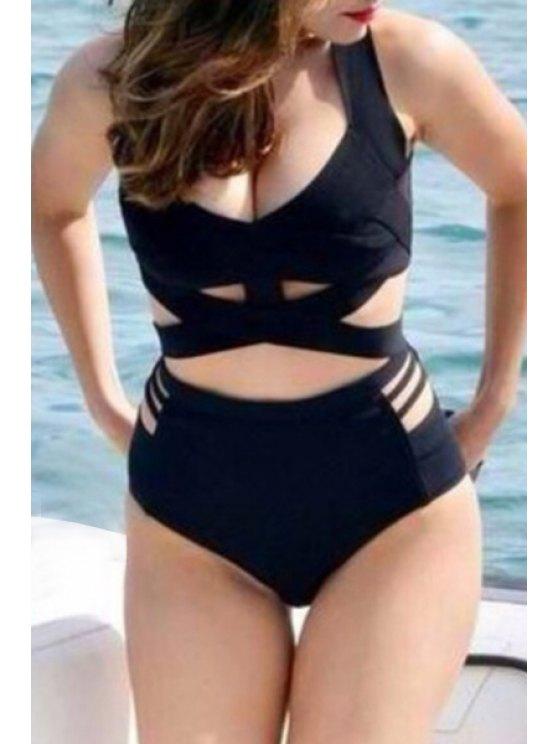 outfits Black Plus Size One-Piece Swimwear - BLACK S