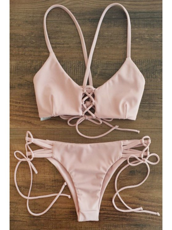 fancy Pink Cami Bikini Set - PINK S