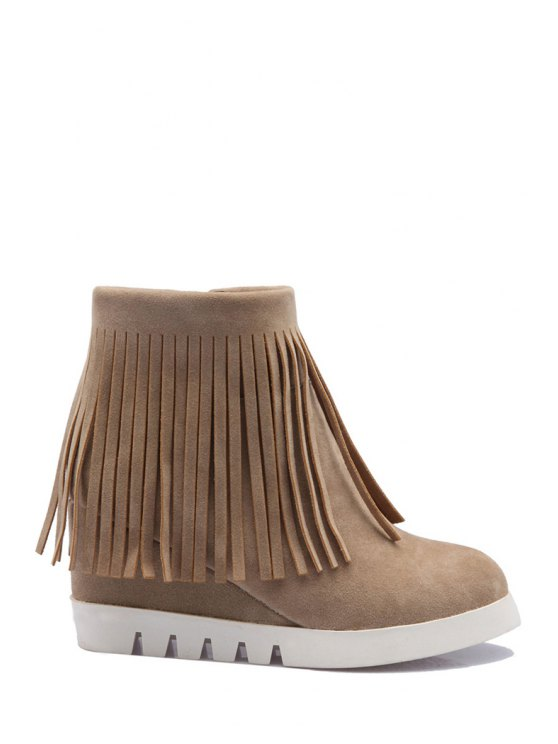 latest Solid Color Fringe Wedge Heel Short Boots - OFF-WHITE 34