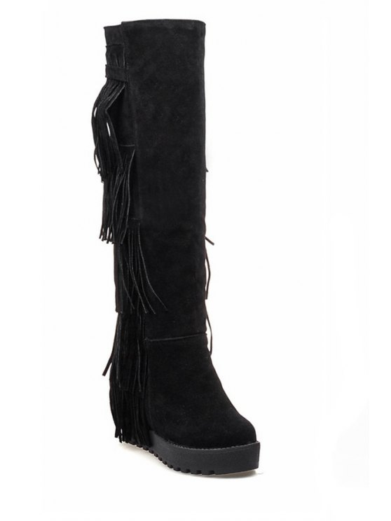 trendy Fringe Solid Color Platform Mid-Calf Boots - BLACK 34