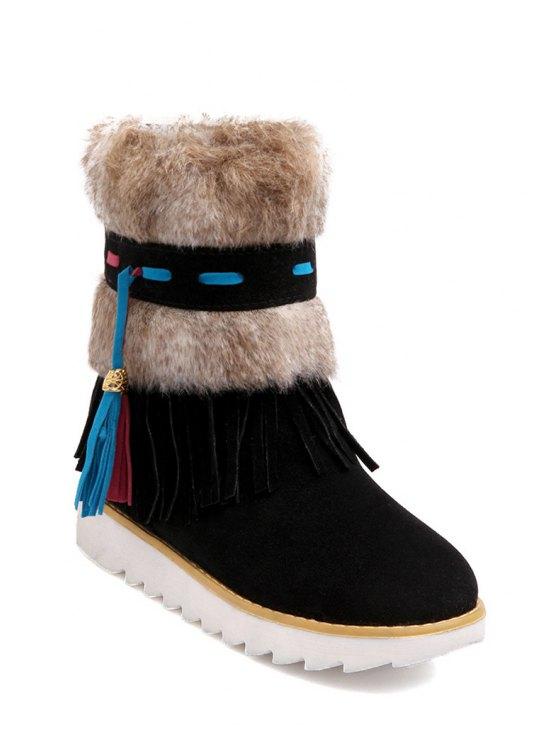 outfit Tassels Fringe Faux Fur Snow Boots - BLACK 35