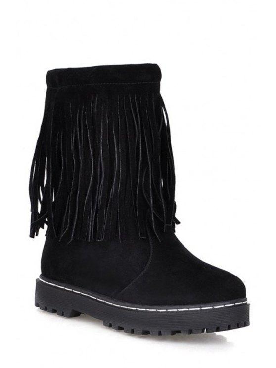 fancy Pure Color Fringe Mid-Calf Boots - BLACK 34
