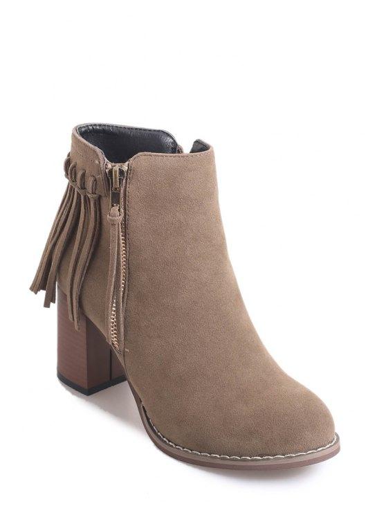 ladies Chunky Heel Zipper Fringe Short Boots - KHAKI 38
