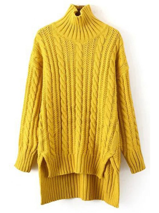 latest Solid Color High-Low-Hem Turtle Neck Sweater - YELLOW