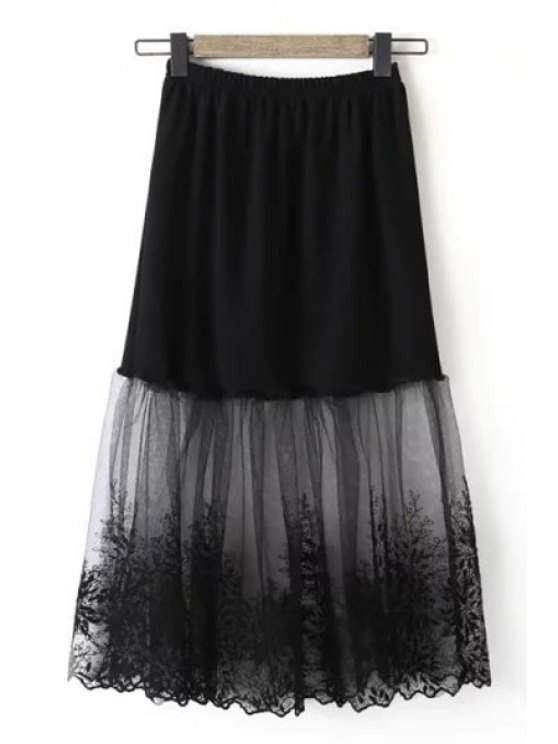 hot Embroidery Voile Spliced See-Through Skirt - BLACK ONE SIZE(FIT SIZE XS TO M)