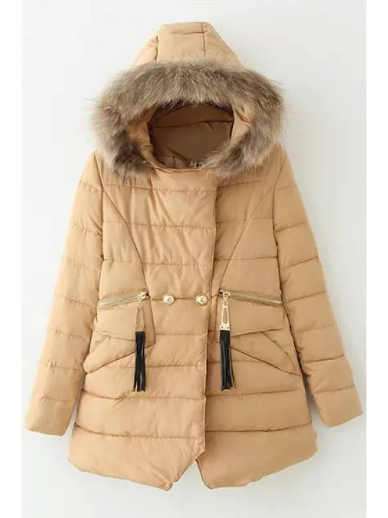 fashion Solid Color Hooded Long Sleeves Thicken Down Coat - KHAKI M