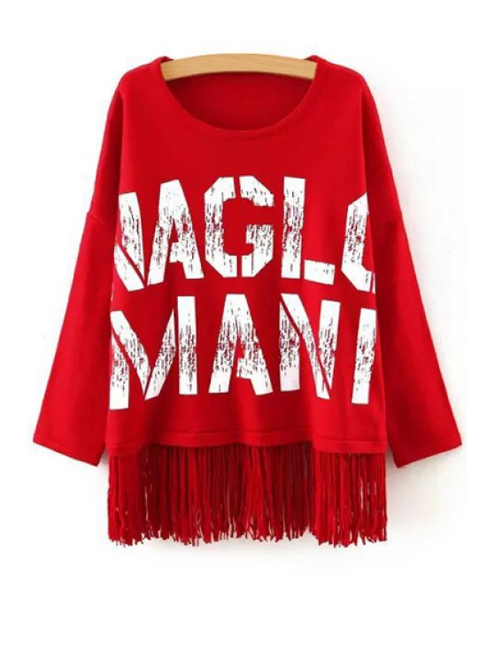 fashion Letter Pattern Tassels Round Neck Long Sleeves Sweater - RED ONE SIZE(FIT SIZE XS TO M)