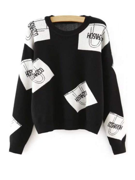 fancy Color Block Letter Print Round Neck Sweater - WHITE AND BLACK ONE SIZE(FIT SIZE XS TO M)