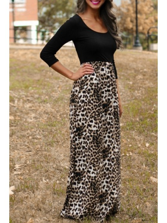 fashion 3/4 Sleeve Leopard Print Maxi Dress - LEOPARD S