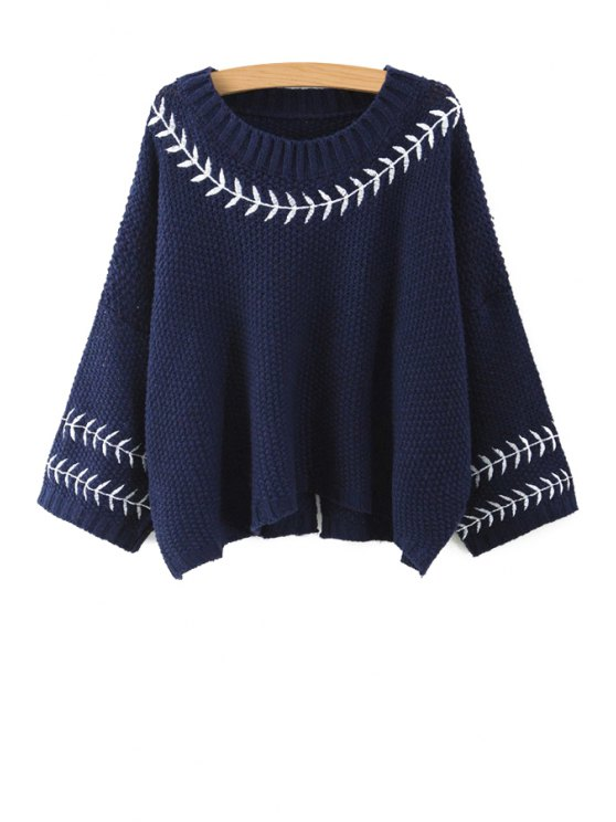 fancy Leaf Embroidery Long Sleeve Jumper - CADETBLUE S