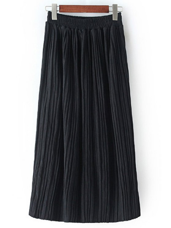 women's Pleated Solid Color All Match Skirt - BLACK ONE SIZE(FIT SIZE XS TO M)