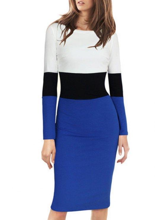 trendy Color Block Bodycon Midi Dress - BLUE AND WHITE S
