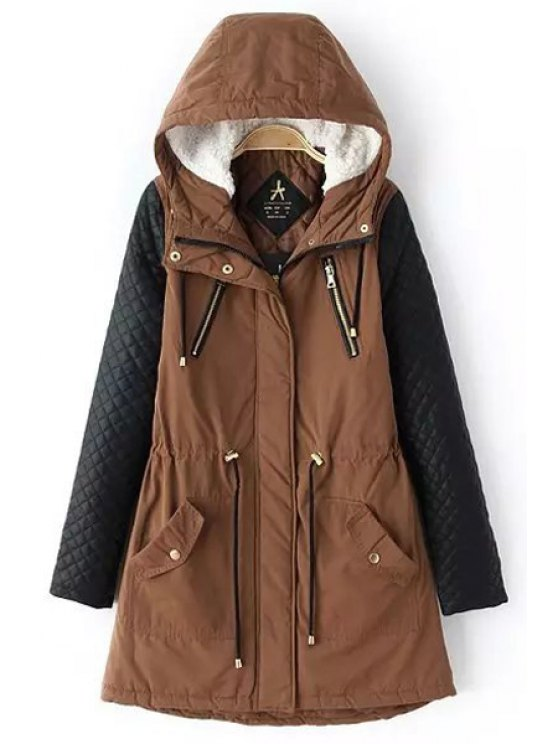shops Faux Leather Spliced Hooded Coat - BROWN ONE SIZE(FIT SIZE XS TO M)
