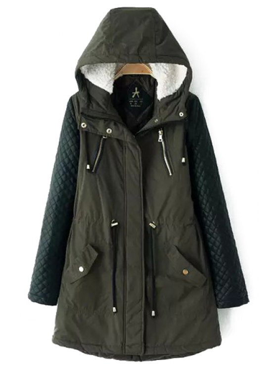 affordable Quilting Faux Leather Spliced Hooded Coat - ARMY GREEN M