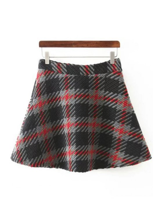 online Checked Colormix Knitted Winter Skirt - BLACK S