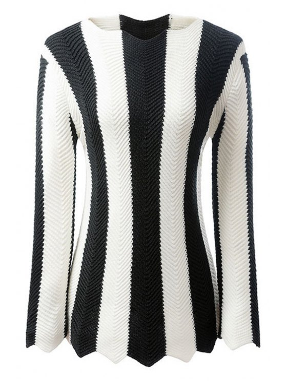 shop Black and White Striped Long Sleeve Jumper - WHITE AND BLACK S
