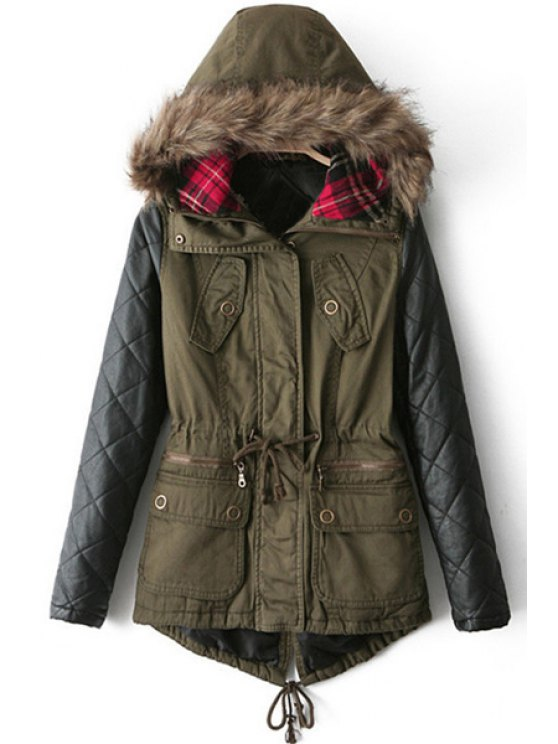 best PU Leather Sleeve Big Pockets Quilted Coat - GREEN M