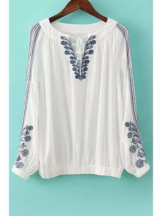 outfit Flower Embroidery V Neck Long Sleeve Blouse - WHITE S