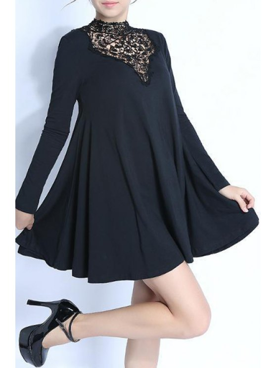 trendy Lace Spliced Stand Neck Long Sleeve Dress - BLACK S