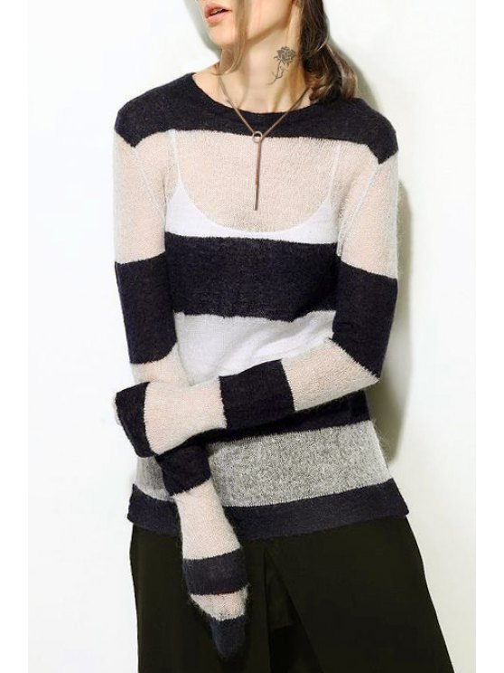 latest Striped Round Neck Loose Jumper - WHITE ONE SIZE(FIT SIZE XS TO M)