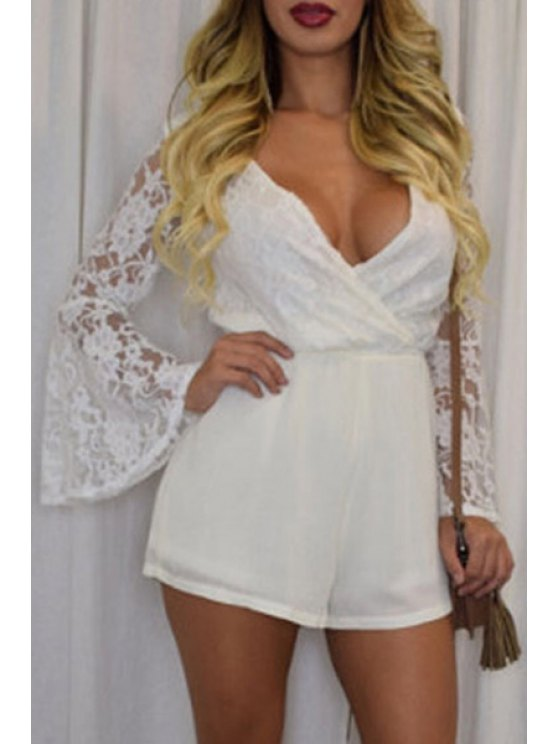 trendy Plunging Neck White Lace Romper - WHITE ONE SIZE(FIT SIZE XS TO M)