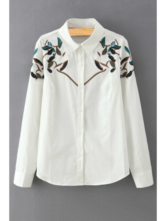 shops Leaf Embroidery Shirt Neck Long Sleeves Shirt - WHITE S