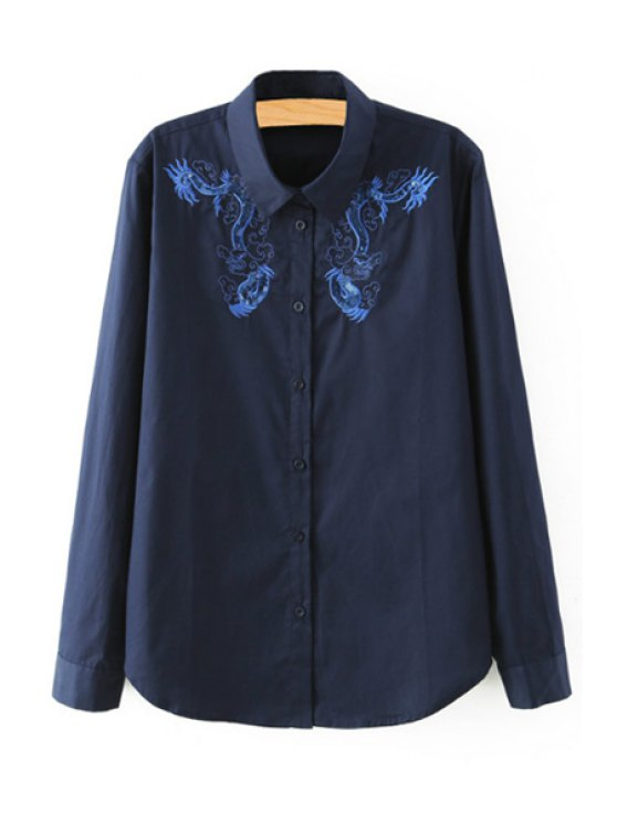 affordable Dragon Embroidery Long Sleeves Shirt - BLUE S