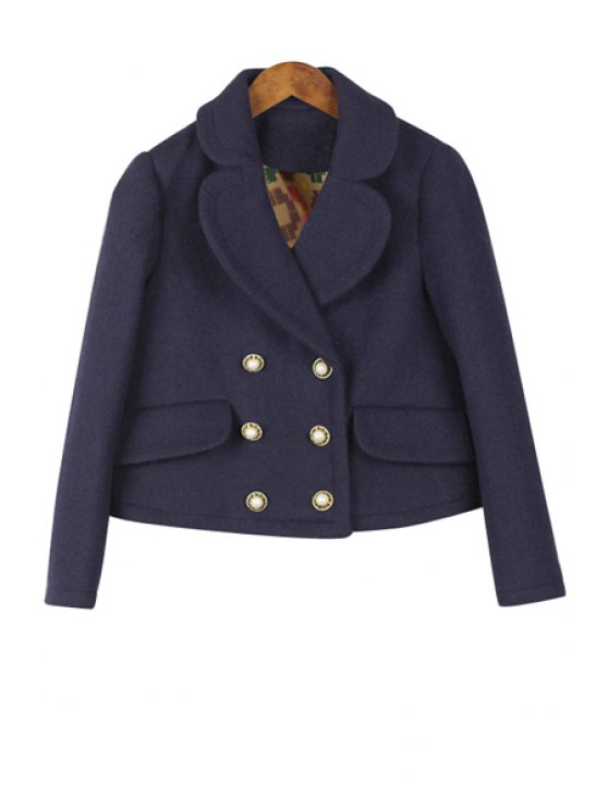 latest Lapel Long Sleeves Double-Breasted Coat - CADETBLUE S