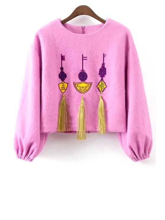women Tassels Long Sleeve Worsted Sweatshirt - PINK S