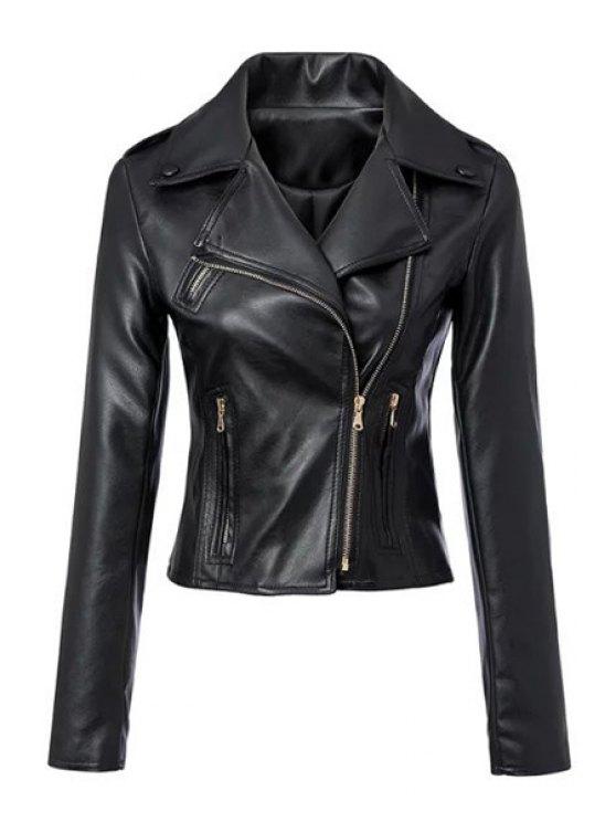 latest Heart Print Lapel PU Leather Blazer - BLACK S