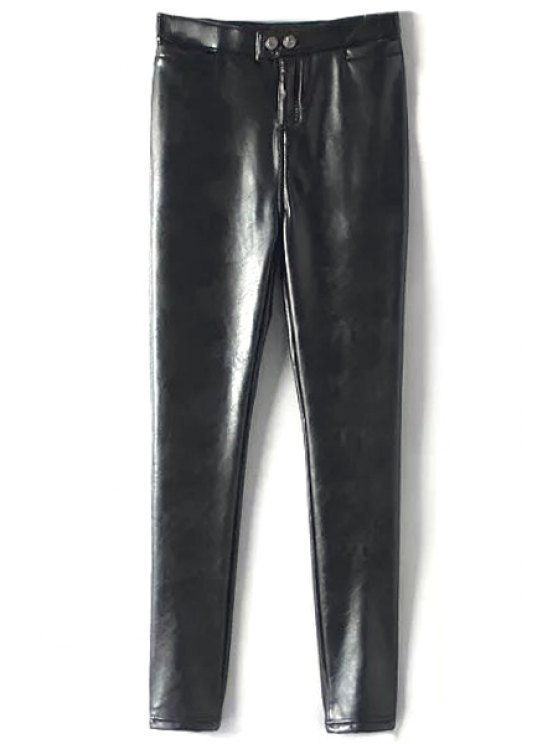 latest PU Leather Solid Color Thicken Narrow Feet Pants - BLACK M