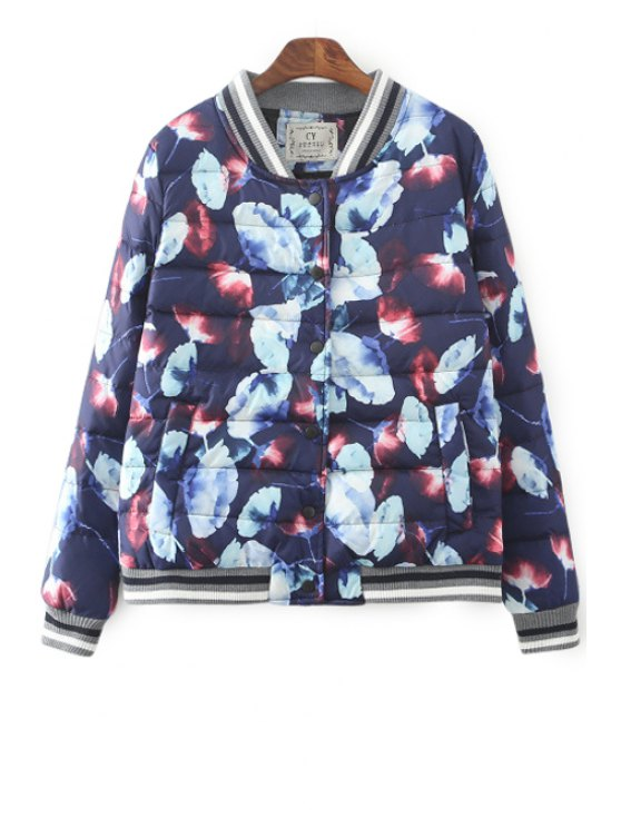 chic Printed Stand Collar Long Sleeves Down Coat - BLUE S