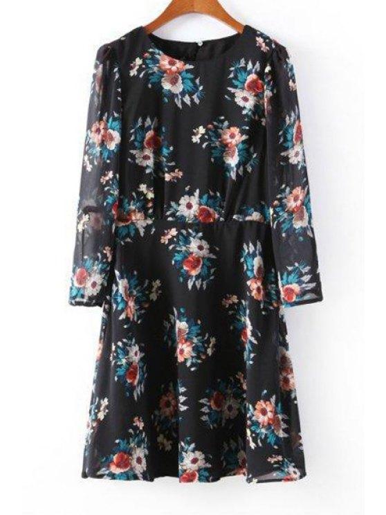 ladies Floral Chiffon Round Neck Long Sleeve Dress - BLACK S
