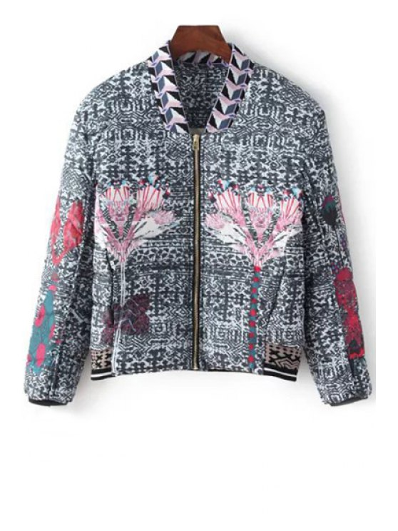 sale Printed Zipper Stand Collar Long Sleeves Down Coat - COLORMIX XS