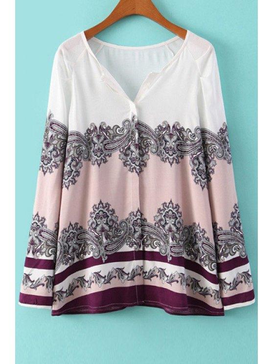 online Vintage Print V-Neck Long Sleeves Blouse - WHITE S