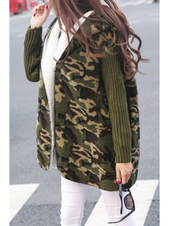 womens Camouflage Pattern Hooded Long Sleeves Coat - ARMY GREEN ONE SIZE(FIT SIZE XS TO M)
