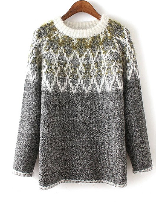 women Argyle Pattern Jewel Neck Long Sleeve Jumper - GRAY ONE SIZE(FIT SIZE XS TO M)