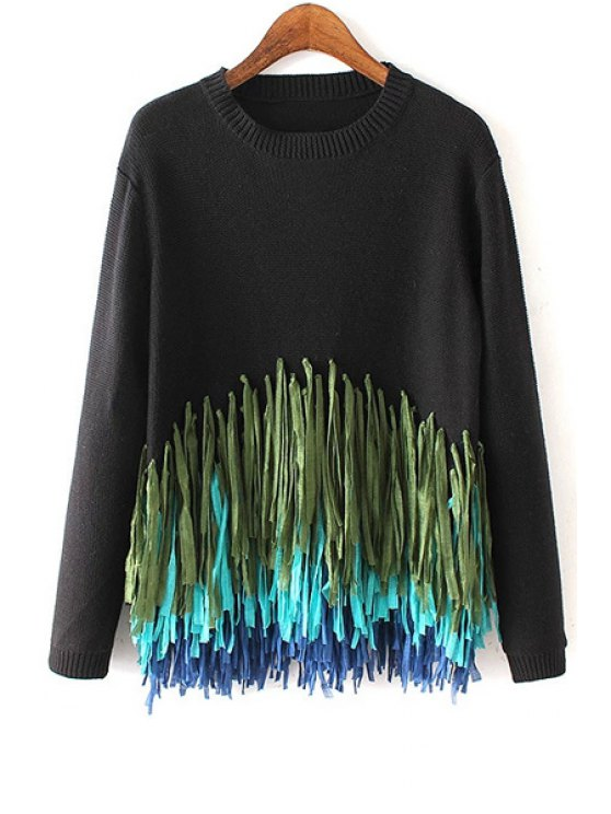 women's Colorful Tassels Spliced Long Sleeve Jumper - BLACK ONE SIZE(FIT SIZE XS TO M)