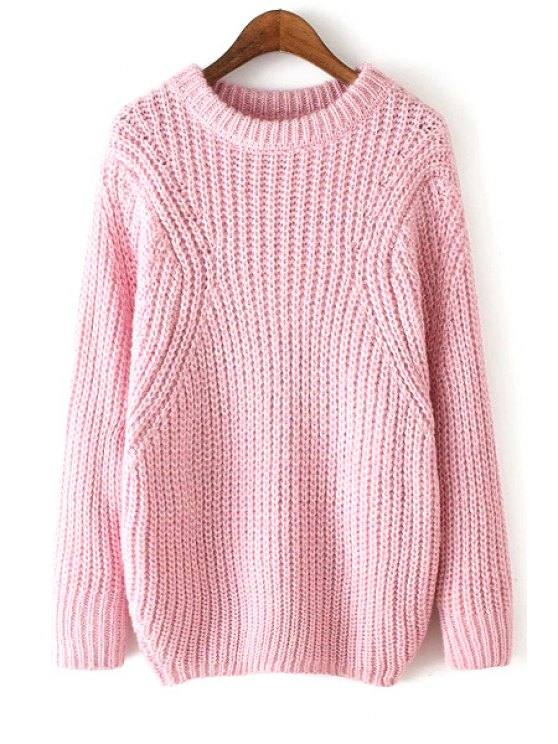 lady Pure Color Round Collar Long Sleeves Jumper - PINK ONE SIZE(FIT SIZE XS TO M)