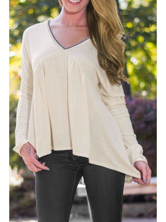 ladies High Low Hem V-Neck Long Sleeves T-Shirt - LIGHT YELLOW S