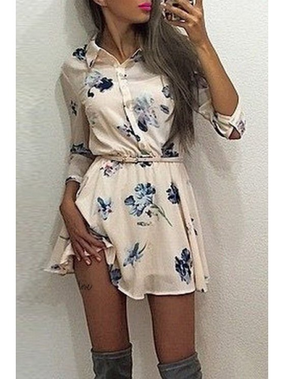 fashion Floral Print Shirt Neck Long Sleeve Dress - WHITE S