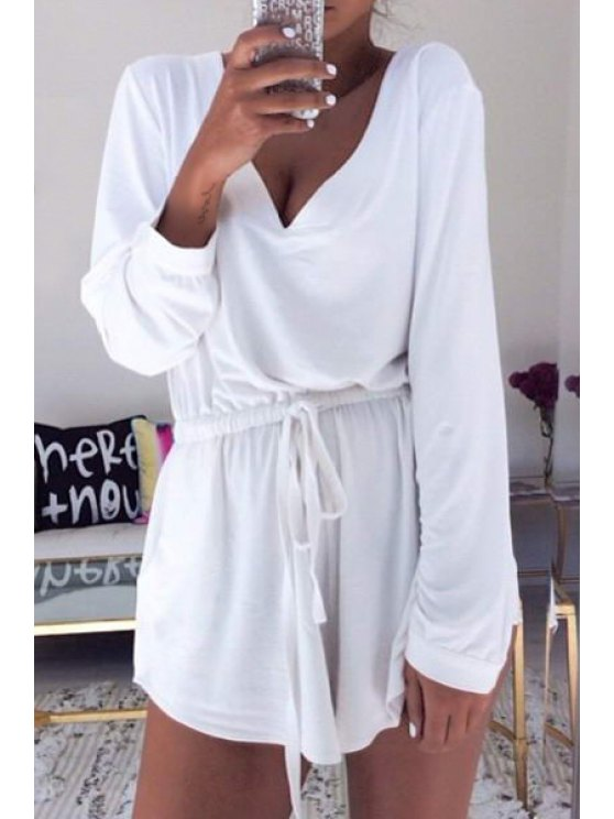 outfit White Plunging Neck Long Sleeves Playsuit - WHITE S